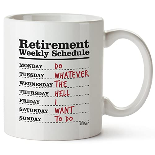 Funny Retirement Gifts for Women Men Dad Mom. Retirement Coffee Mug Gift. Retired Schedule