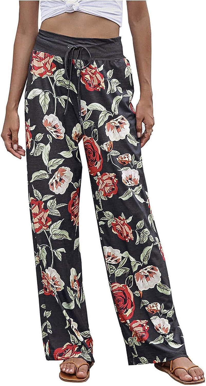 MIVAMIYA Womens Boho Pants Elastic Waist Wide Leg Palazzo Lounge Pants Loose Comfy Drawstring Pajama Pants