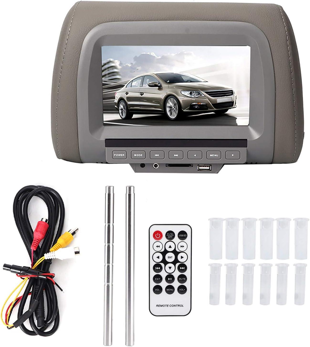 Qiilu 12V 7in Car Universal Speaker USB MP5 HD Headrest Monitor FM ...