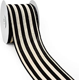 CT CRAFT LLC Stripes Canvas Cotton Ribbon for Home Decor, Gift Wrapping, DIY Crafts, 2.5..