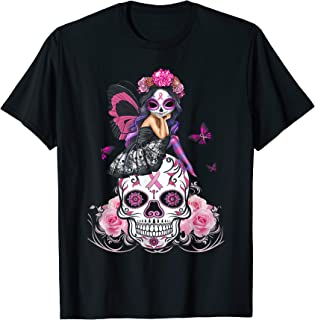 Fairy Sugar Skull Breast Cancer Butterfly Pink Ribbon Woman T-Shirt