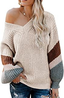 Misassy Womens V Neck Chunky Knit Pullover Sweaters Off Shoulder Lantern Striped Sleeve Loose Jumper Tops