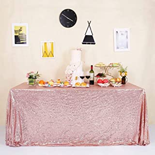 GFCC Sparkly Rose Gold Sequin Tablecloth 60x102 Inch Shimmer Table Cover for Wedding Party Banquet Cake Table Cloth Linen Decorations
