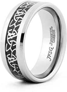 JFSG 6mm, 8mm Tungsten Carbide Ring Comfort Fit Wedding Band Ring with Laser Etched Celtic Trinity Knot Inlay