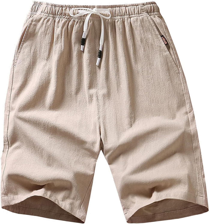 Tantisy Men Ultra Soft Shorts Pants Solid Color Workout Activities Climbing Elastic Waistband Loose Travel Pockets Pants