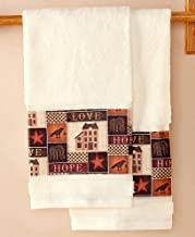 The Lakeside Collection Primitive Designs Collage Hand Towels - Set of 2 Bathroom Hand Wipes