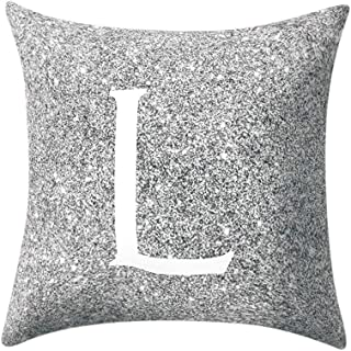 BINMUO Throw Pillow Covers Decorative Pillows Case Cotton Fiber Cushion Sofa Car Office Cover Home Decoration 45X45CM (Gray Englisch Alphabet L)