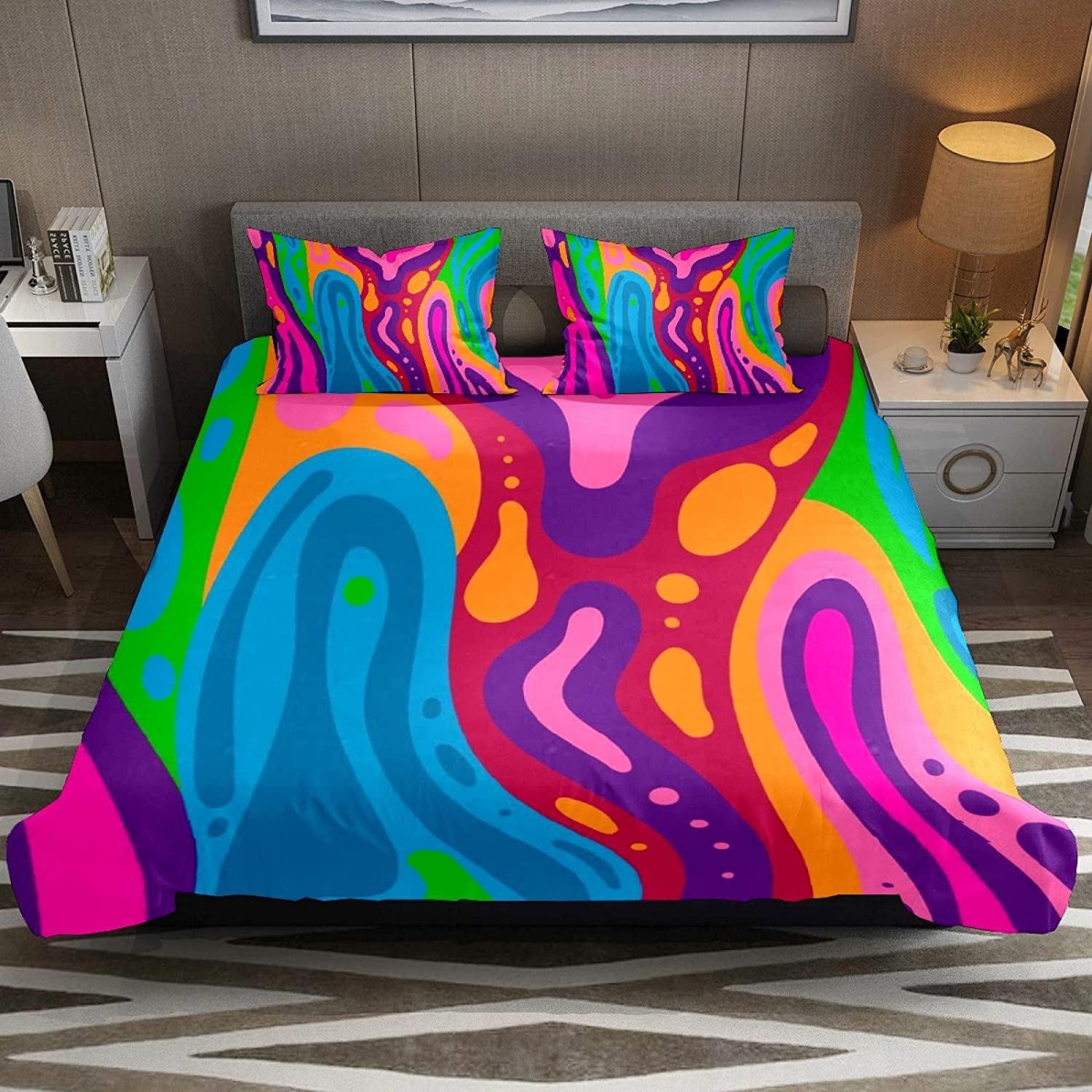 N\O 3 Piece Bedding Cash special price Sets New item Watercolor Marble Texture Wavy Duvet Co