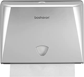 Bosharon Paper Towel Dispenser Wall Mount for Home and Commercial Use. Multifold Paper Towel Dispenser, C Fold Paper Towel Dispenser, Tissue Holder for Bath, Kitchen, Office, Business (Silver)