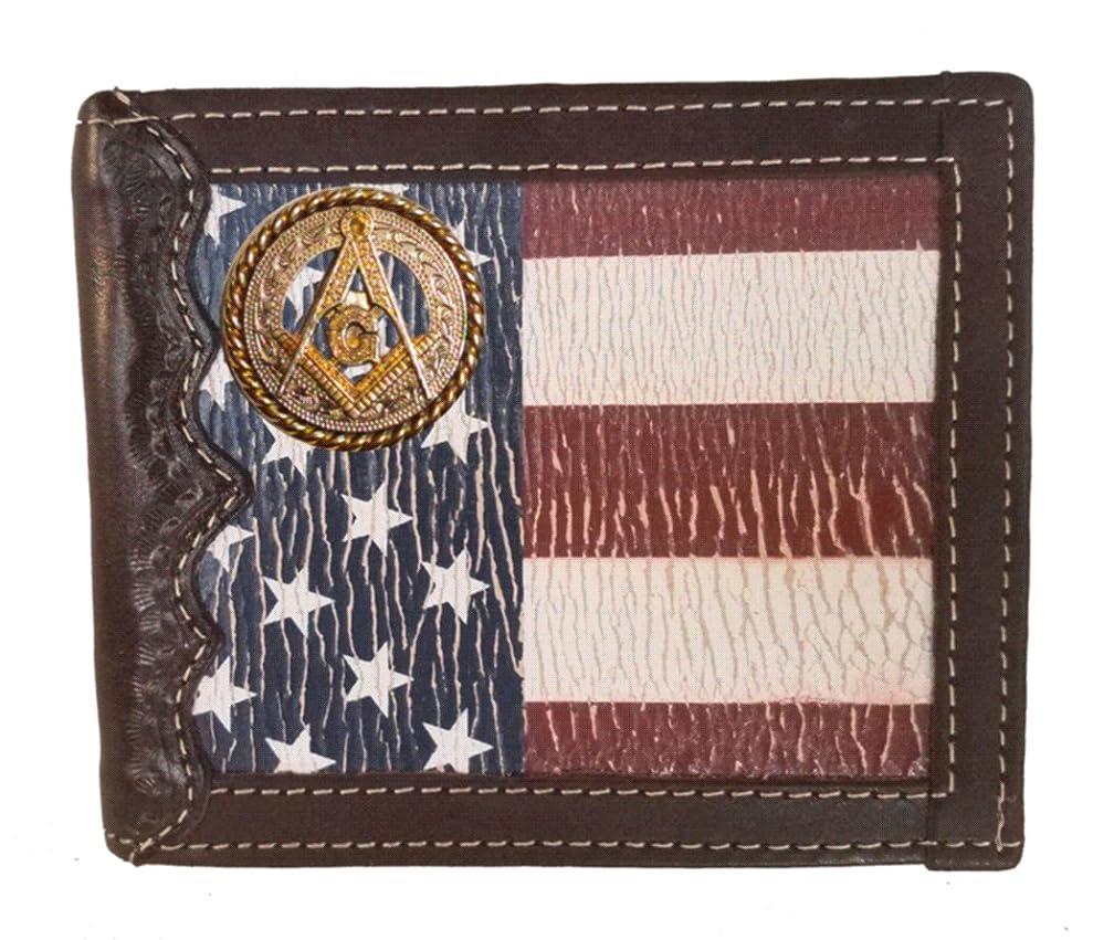 レーザバケット排泄するカスタムMasonic正方形とコンパス二つ折り財布with aアンティーク調アメリカの国旗背景