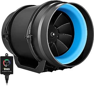 iPower GLFANXINLINEEXPC8 8 Inch 550 CFM Inline Duct Fan with Variable Speed Controller Ventilation, Quiet HVAC Exhaust Blower, Black