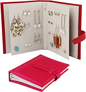 TinaWood Portable PU Leather Stud Earrings Organizer Book/Travel Jewelry Display Storage Bag Box Case/Travel Jewelry Case Pu Leather Earring Holder with Book Design (Pink x1)