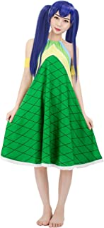 DAZCOS Adult US Size Halter Backless Strap Printed Green Wendy Marvell Cosplay Dress