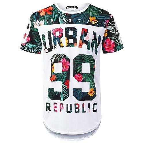URBANTOPS Mens Hipster Hip Hop Floral Graphic Longline T-Shirt (Various  Styles) a1eb16d8e07d