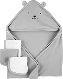 Child of Mine by Carter's Neutral Hooded Towel and Wash Clothes Baby Boys or Baby Girls Unisex)