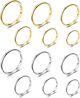 Starain 6Pcs Band Knuckle Rings for Women 1mm Stainless Steel Midi Stacking Finger Rings Comfort Fit Size 4-9