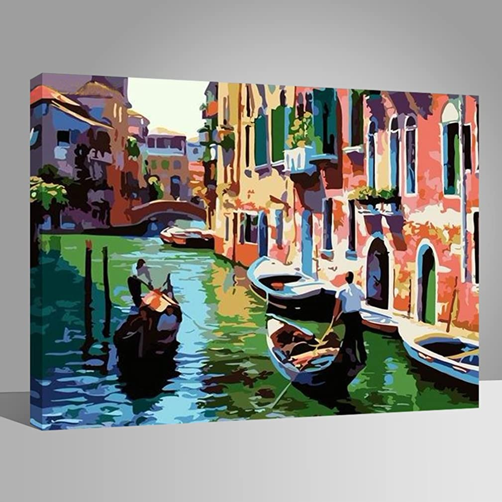 LIUDAO Paint by Number Kits for Adults, Oil Painting on Canvas- Twilight Venice 16x20 Inch Wood Frame
