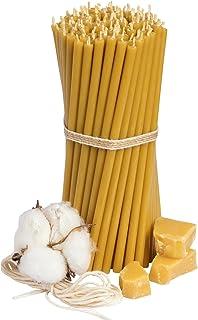 Ritualkerzen Bienenwachskerzen: Honig 100 Stk. L-16 cm, Durchmesser-5,0 mm, Brenndauer 30 Min natürlich, tropffrei, rauchlos. Dünne Kirchen Qualität, aus Bienenwachs 140