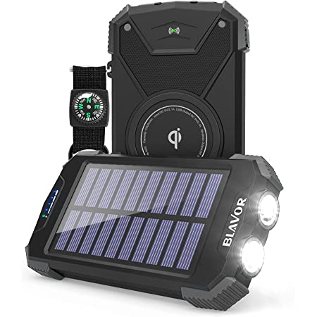 Green Dual Fast Charger for Cell Phone Solar Power Bank 10000mah Ryoko Portable Solar Charger Ipx4 Waterproof Phone External Battery for Hiking Camping Backpacking LED Source of Dark Lifesaver
