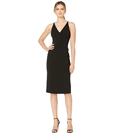 Donna Morgan Deep V-Neck Crepe Sheath Dress (Black) Women