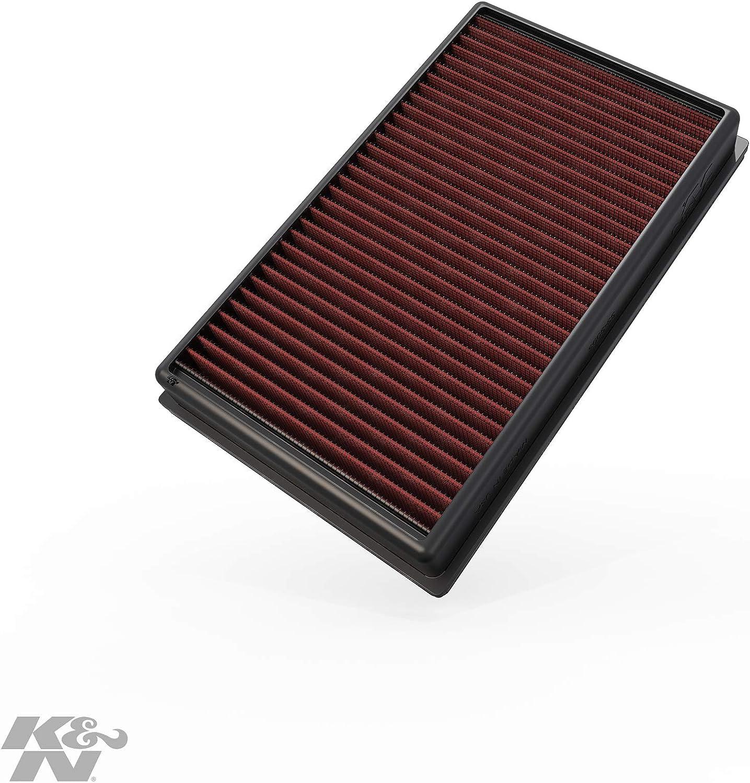 K&N 33-3005 Filtro de Aire Coche, Lavable y Reutilizable, negro