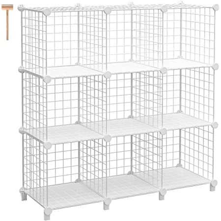 TomCare Cube Storage 9-Cube Metal Wire Cube Organizer Storage Cubes Shelves Shelves Organizer DIY Bookshelf Closet Organizer Cube Shelves Storage Shelves for Bedroom Home Office, White