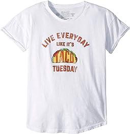Slub Rolled Short Sleeve Live Everyday Like Its Taco Tuesday (Big Kids)