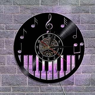 ビニールレコードの壁掛け時計、常夜灯の掛け時計 サイレントクォーツムーブメント クリエイティブウォールデコレーション さまざまなスタイル,A