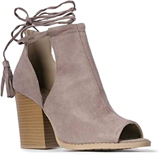Cady Ankle Bootie - Lace Up Peep Toe Cutout Mule Stacked High Heel