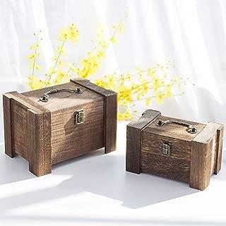 MyGift Set of 2 Decorative Wooden Vintage-Style Nesting Boxes, Keepsake Storage Chests, Brown