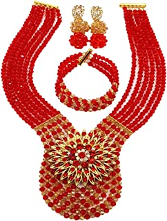 aczuv Women's Fashion Beaded Crystal Nigerian Bridal Wedding Party Necklace African Beads Jewelry Set