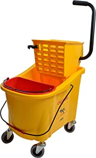 Janico 1036 Mop Bucket Side Press Wringer Combo, 36 Quart 9 Gallon, Includes Insert Mop Bucket, Yellow
