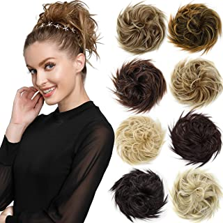 EMERLY Messy Bun Hair Piece Synthetic Scrunchy Tousled Updo Hair Extensions Ponytail Curly Hair Pieces for Women