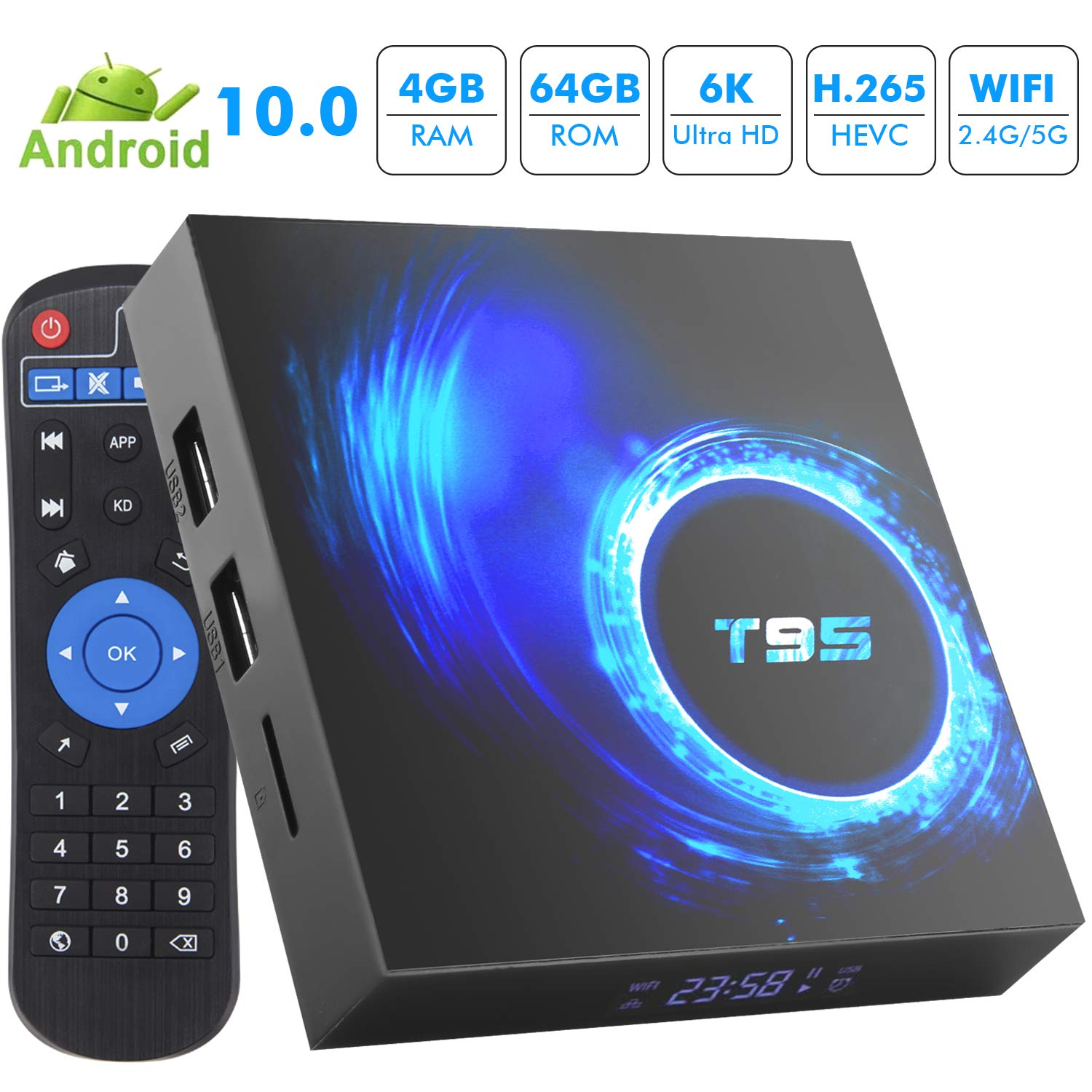 Android TV Box, Android 10.0 TV Box 4GB RAM 64GB ROM Allwinner H616 Quad-Core 64bit,Smart TV Box Soporte 2.4G/5GHz WiFi 6K / 4K Ultra HD / 3D / H.265 Android Box: Amazon.es: