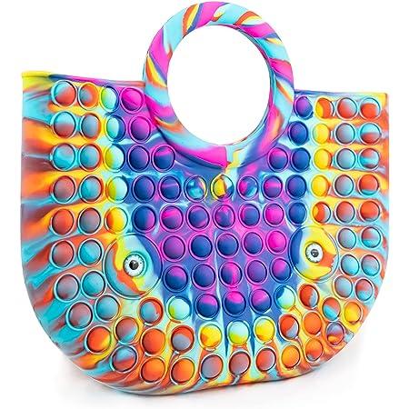 Philicoco Pop Bubble Sensory Fidget Multicolore Silicone Anti Stress Jouets Presser Arc-en-ciel Cadeau pour Enfants Adultes (Arc-en-Ciel, L)
