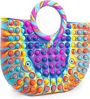 Pop Bubble Its Push Handtasche für Damen, Strandtasche Geldbörsen und Taschen Sensory Toy Antistress Bunte Regenbogen Sili...