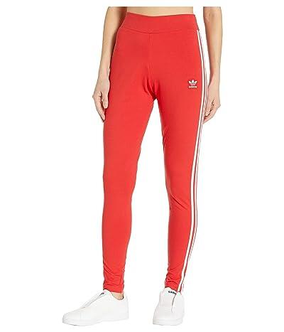 adidas Originals 3 Stripes Tights (Lush Red/White) Women