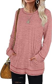 Sponsored Ad - Bofell Womens Sweatshirts Crewneck Long Sleeve Shirts Casual Tunic Tops with Pockets S-2XL