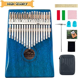EastRock Kalimba 17 Keys Thumb Piano, Portable Finger Piano Gifts with EVA Waterproof Hard Protective Case, Professional Acoustic Finger Thumb Piano Music Gift for Kids Adult Beginners (Blue)