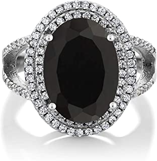 Gem Stone King Sterling Silver Black Onyx Women's Cocktail Ring 6.44 cttw 14X10MM Oval Gemstone Birthstone (Available 5,6,7,8,9)