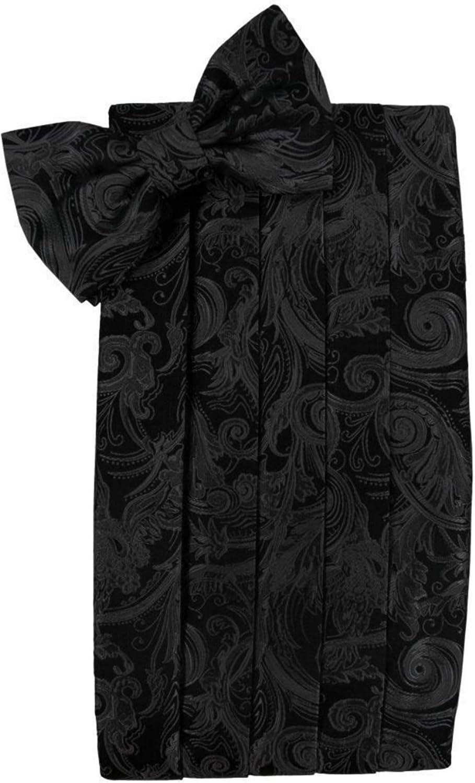 Tapestry Silk Black Tuxedo Cummerbund and Bow Tie