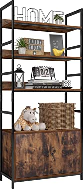 Homfa Industrial Bookcase with 2 Cabinets, 3-Tier Free Standing Open Shelf Display Storage Rack Shelves, 31L x 11.8W x 70.8H Inches Wood Look Accent Metal Frame Furniture for Home Office
