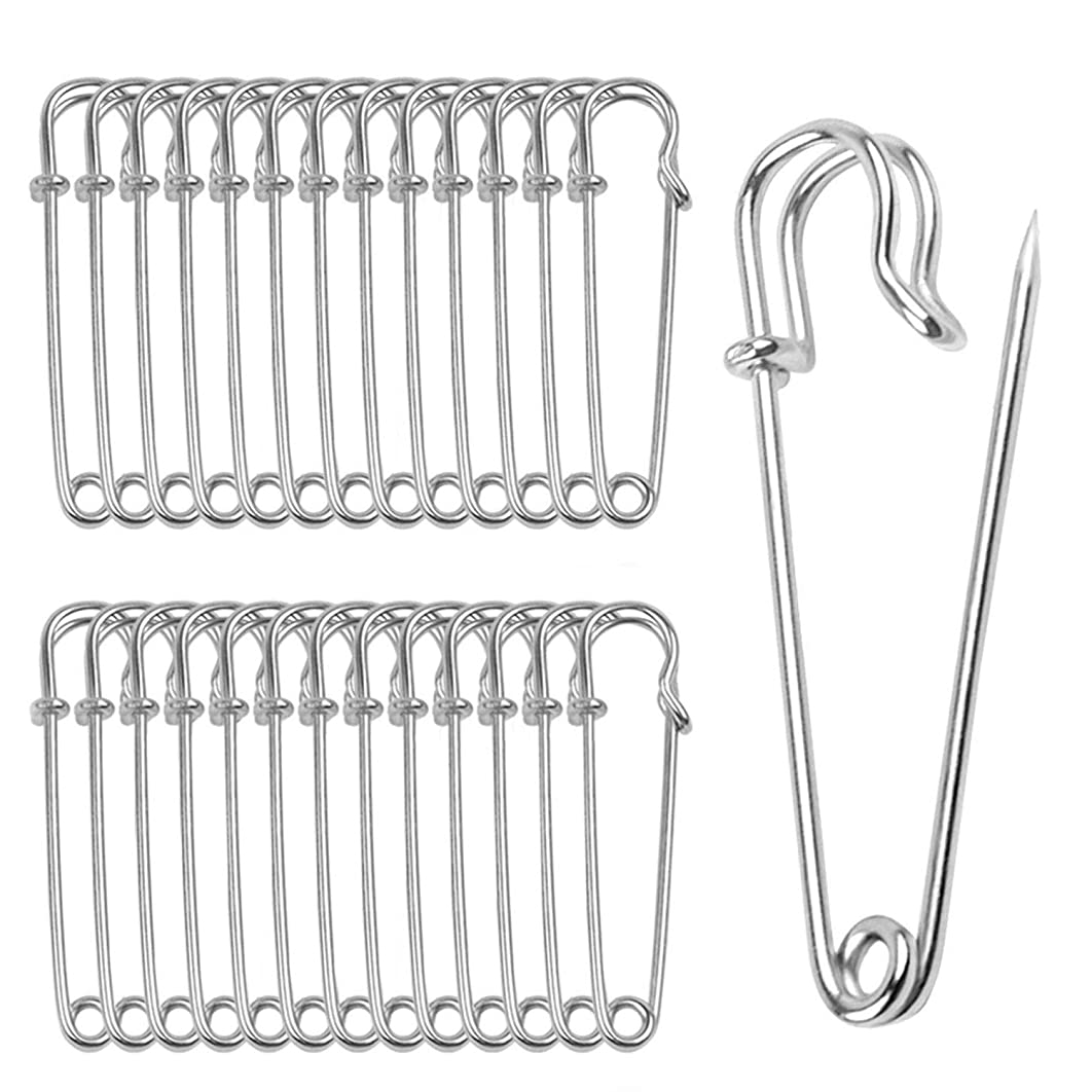 Color Scissor 30 Pieces Safety Pins Extra Large Heavy Steel Pins for Blankets, Skirts, Crafts, Kilts