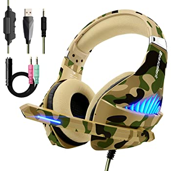 Beexcellent PS4 Xbox One Cuffie Gaming Stereo Deep Bass Noise Cancelling Headset Auricolare Gioco con Microfono Volume Controllo LED light per PC, Xbox360, Mac, Tablet, Smartphone