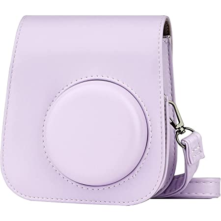 ZWOOS Funda Compatible con Instax Mini 11, Bolsa de Cuero PU para instax Mini 11 Cámara con Correa para el Hombro (Lilac Purple)