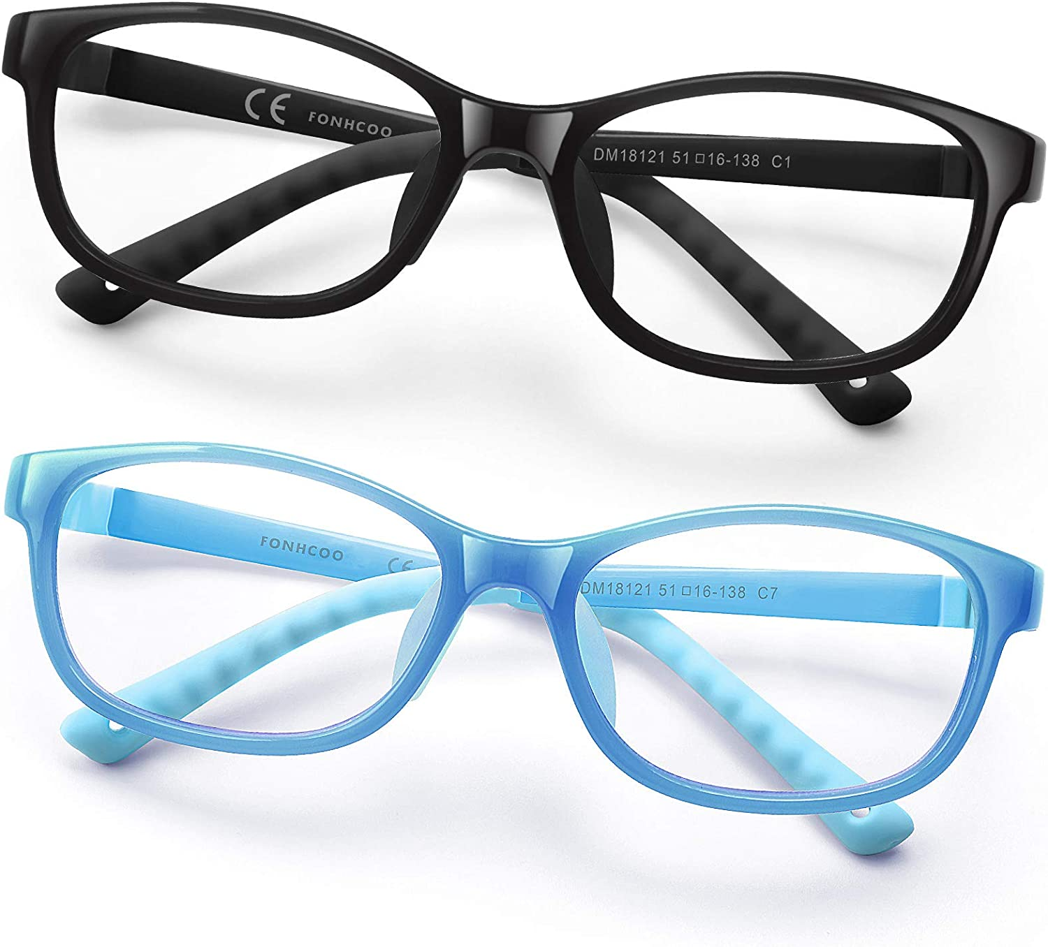 FONHCOO Kids Blue Light Blocking Glasses Computer Glasses for Boys and Girls Age 3-15 with Glasses Strap