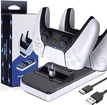 LORDSON Carregador controlador PS5, base de carregamento USB duplo [pode carregar com protetor de pele] estação base portá...