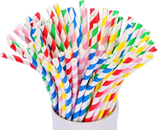 KKMO Bendable Flexible Stripe Paper Straws Biodegradable Drinking Mason Jar Cup Yeti Straw for Party Birthday Wedding Bridal Baby Shower Hawaii