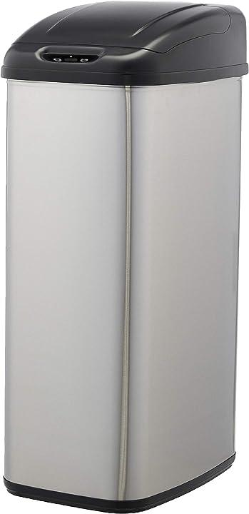 Pattumiera in acciaio inox, automatica, per piccoli spazi, da 50 litri amazon basics AB-50-6