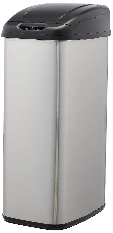 Amazon Basics - Cubo de basura automático de acero inoxidable, para espacios estrechos, 50 litros